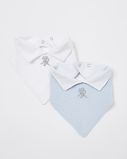 Baby boys white and blue RR collar bibs