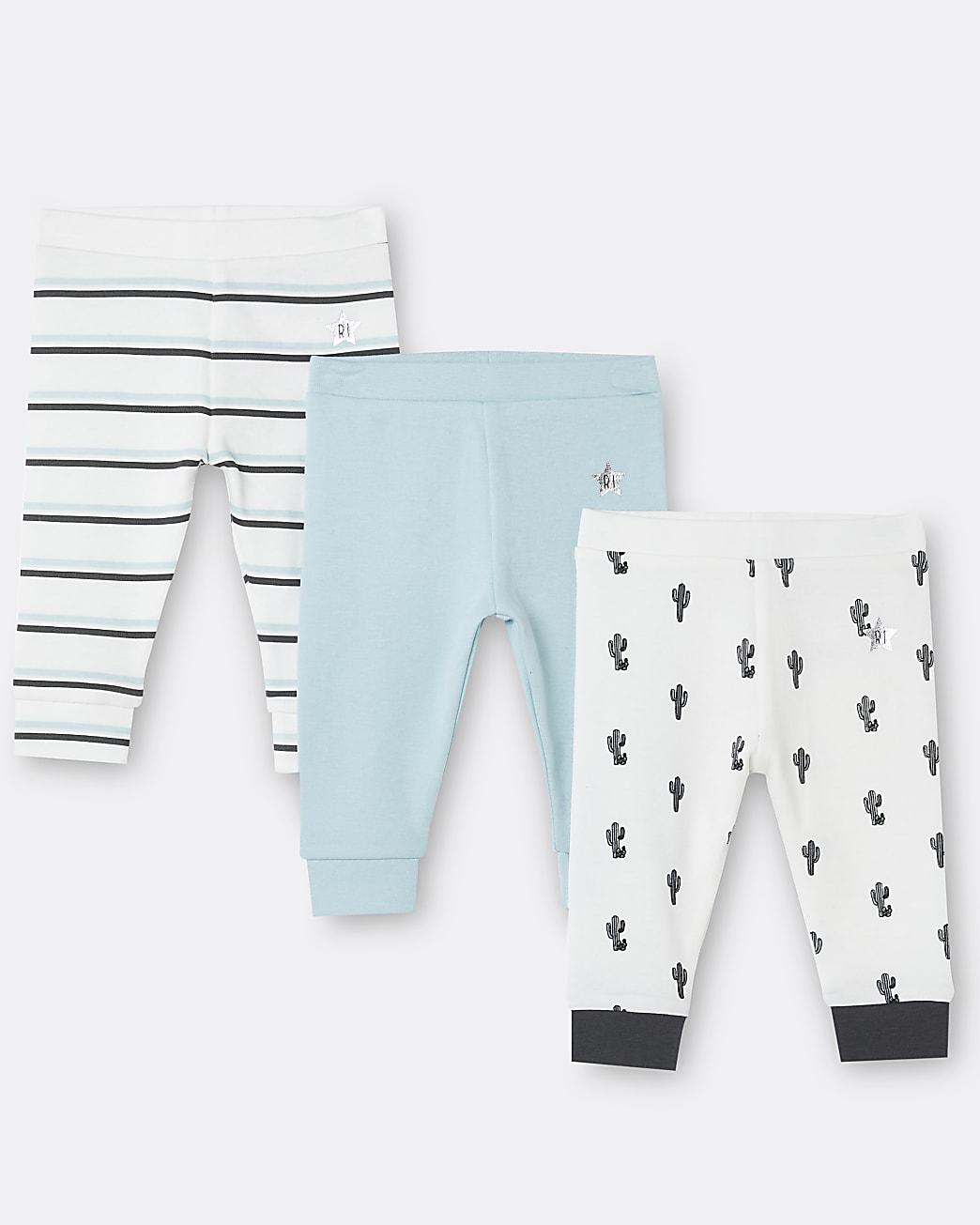 Baby boys white cactus print leggings 3 pack