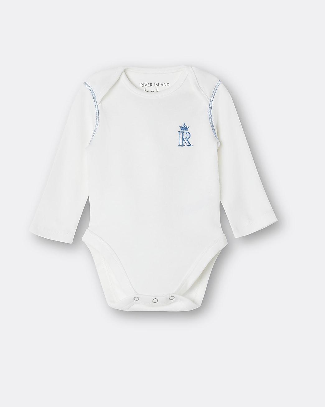 Baby boys white RI embroidered babygrow