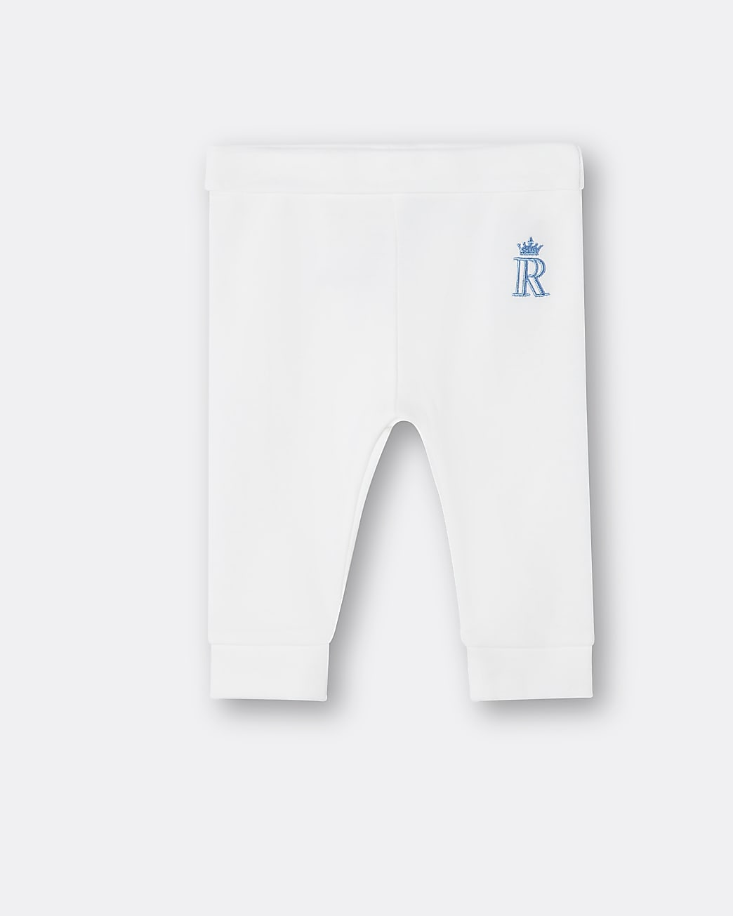 Baby boys white RI embroidered leggings