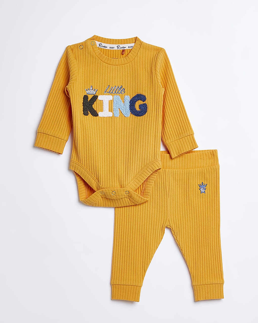 Baby boys yellow 'Little King' rib outfit