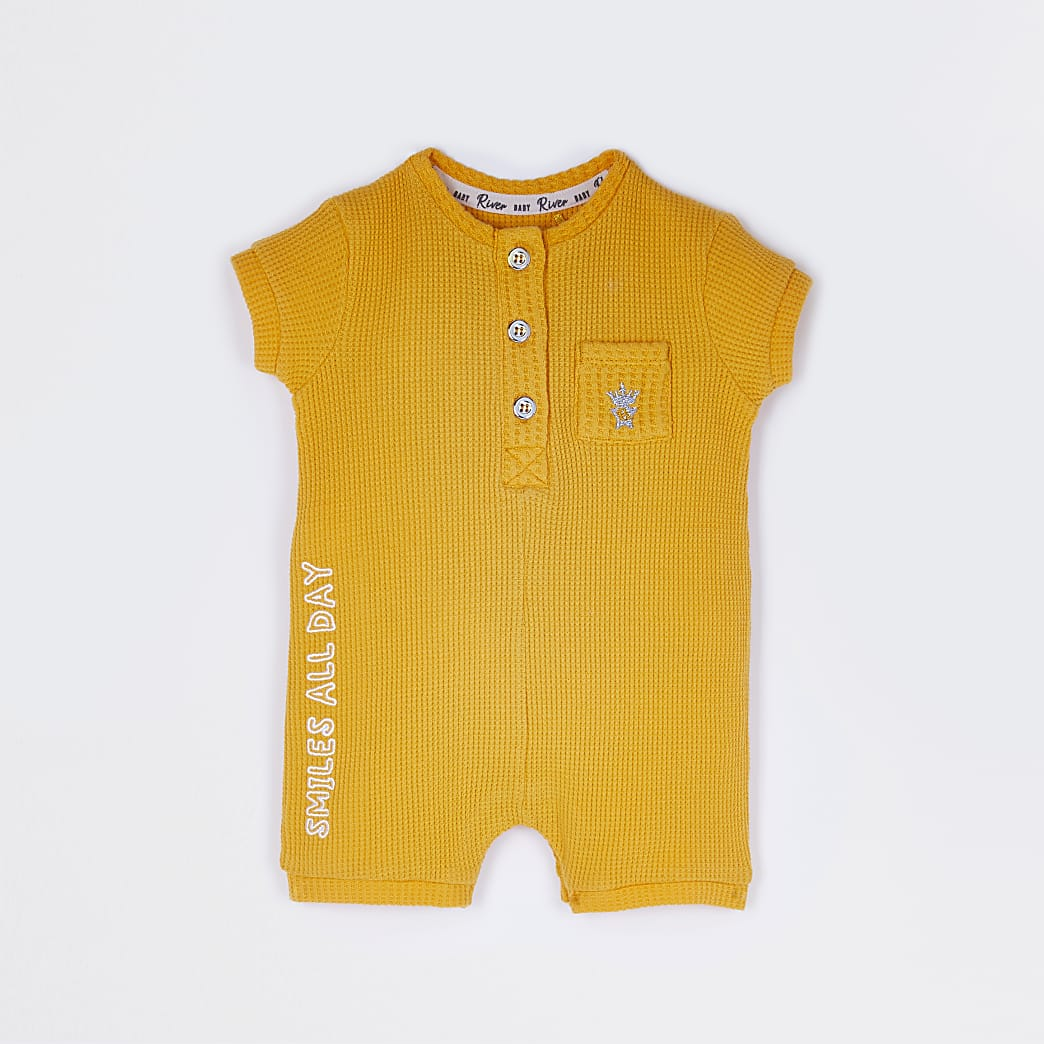 Baby boys yellow 'Smiles All Day' romper