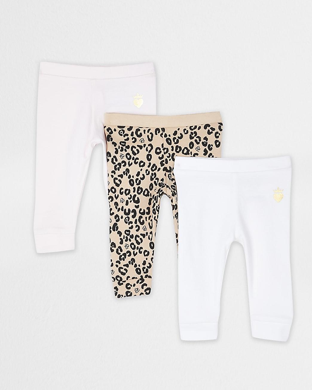 Baby brown leopard leggings 3 pack
