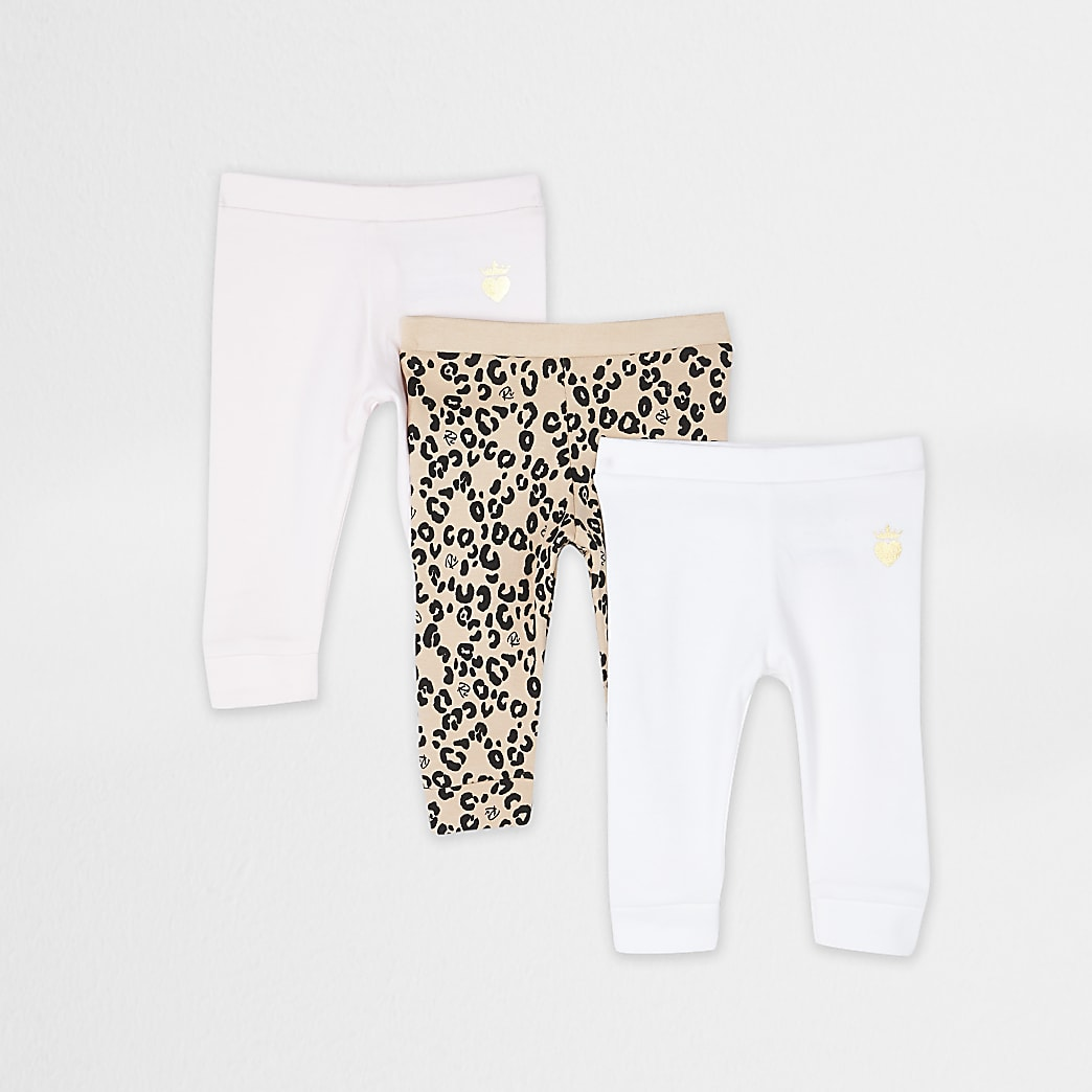 Baby brown leopard leggings 3 pack