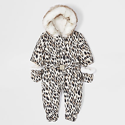 Baby brown leopard print snowsuit