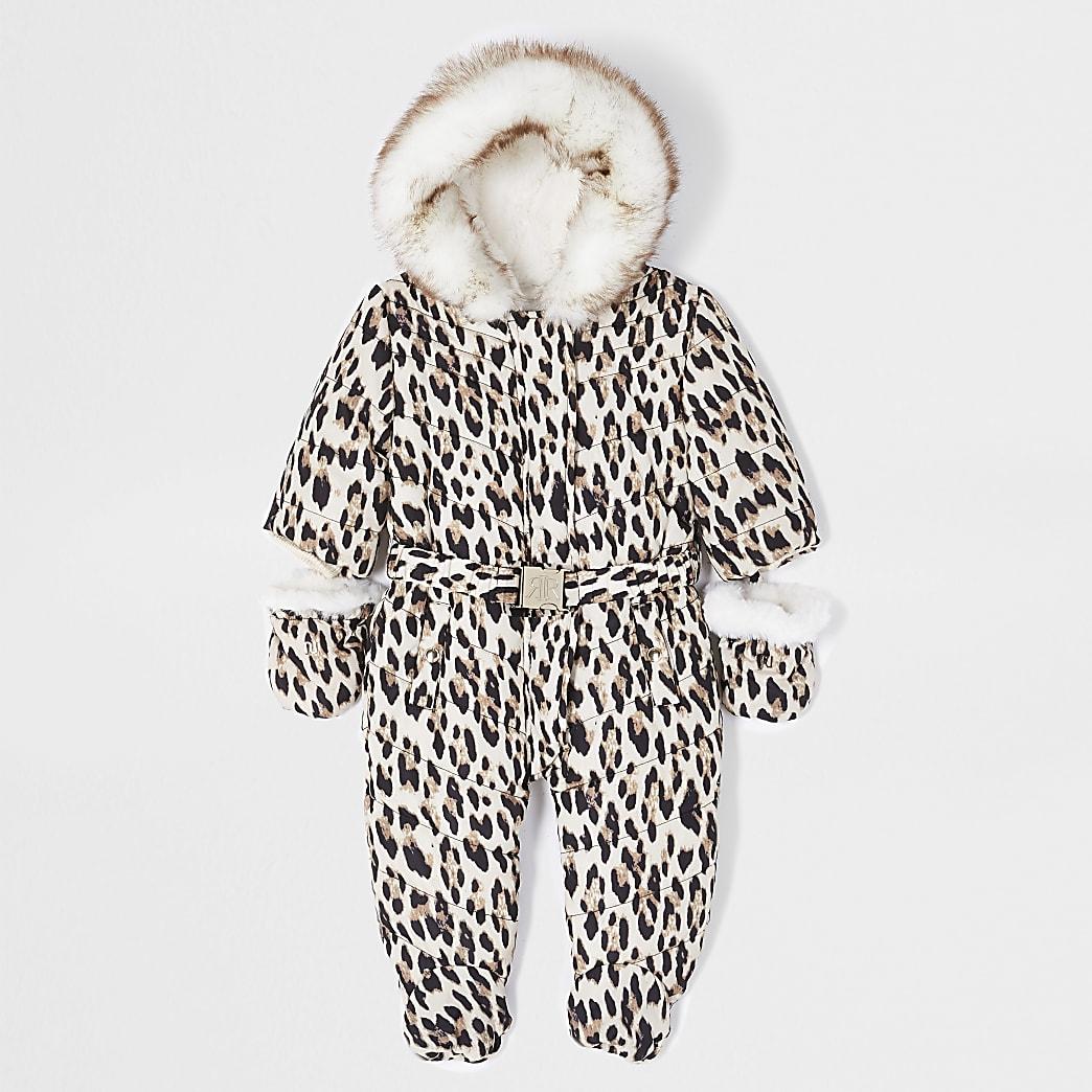 Baby brown leopard print snowsuit