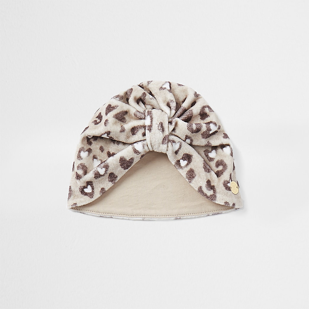 Baby brown leopard print turban