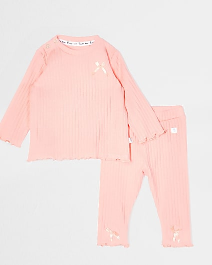 Baby coral bow ribbed legging outfit