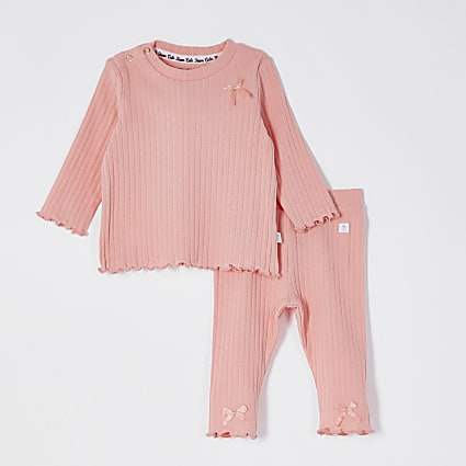 Baby coral ribbed bow leggings outfit