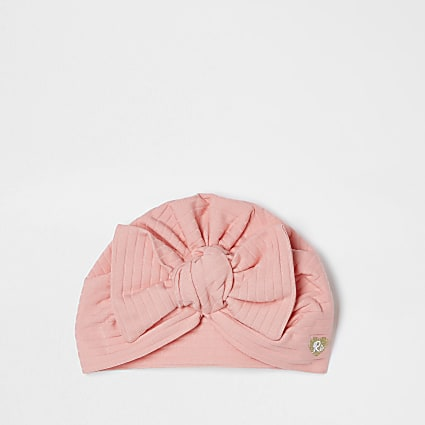 Baby coral ribbed bow turban