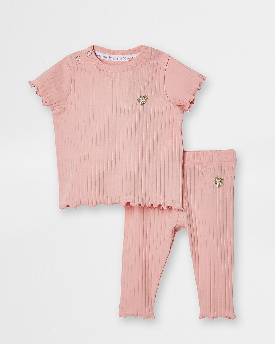 Baby coral ribbed outfit