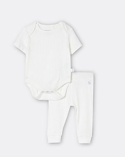 Baby cream babygrow and leggings set
