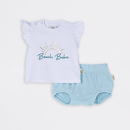 Baby cream 'Beach Babe' bloomer set