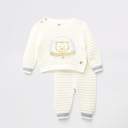 Baby cream bear embroidered jumper outfit