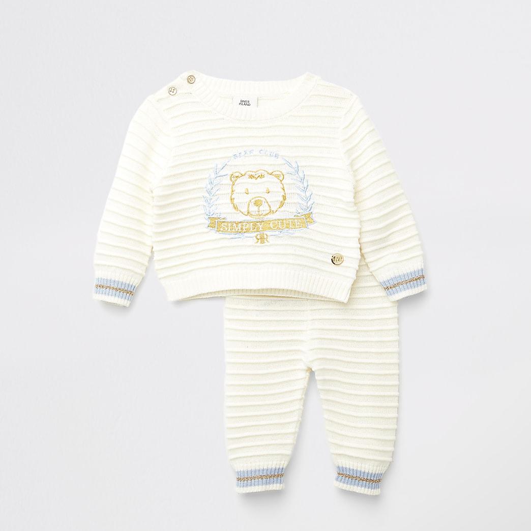 Crèmekleurige trui outfit met beer-borduursel voor baby's