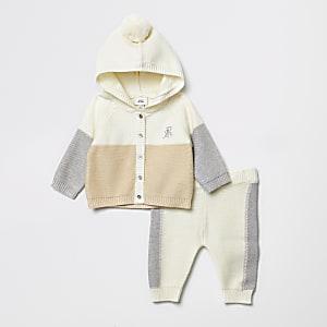 Crèmekleurigegebreideoutfit met vest met kleurvlakken voor baby's