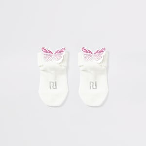 Crèmekleurige sokken verfraaid met vlinders voor baby's