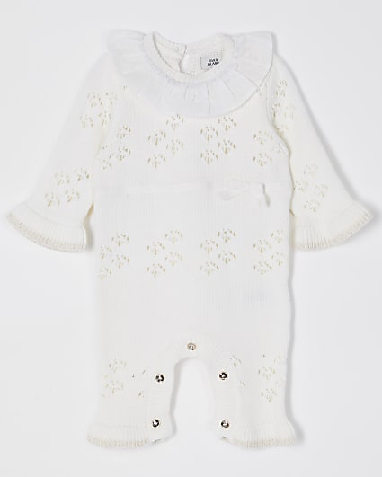 Baby cream frill detail All In One