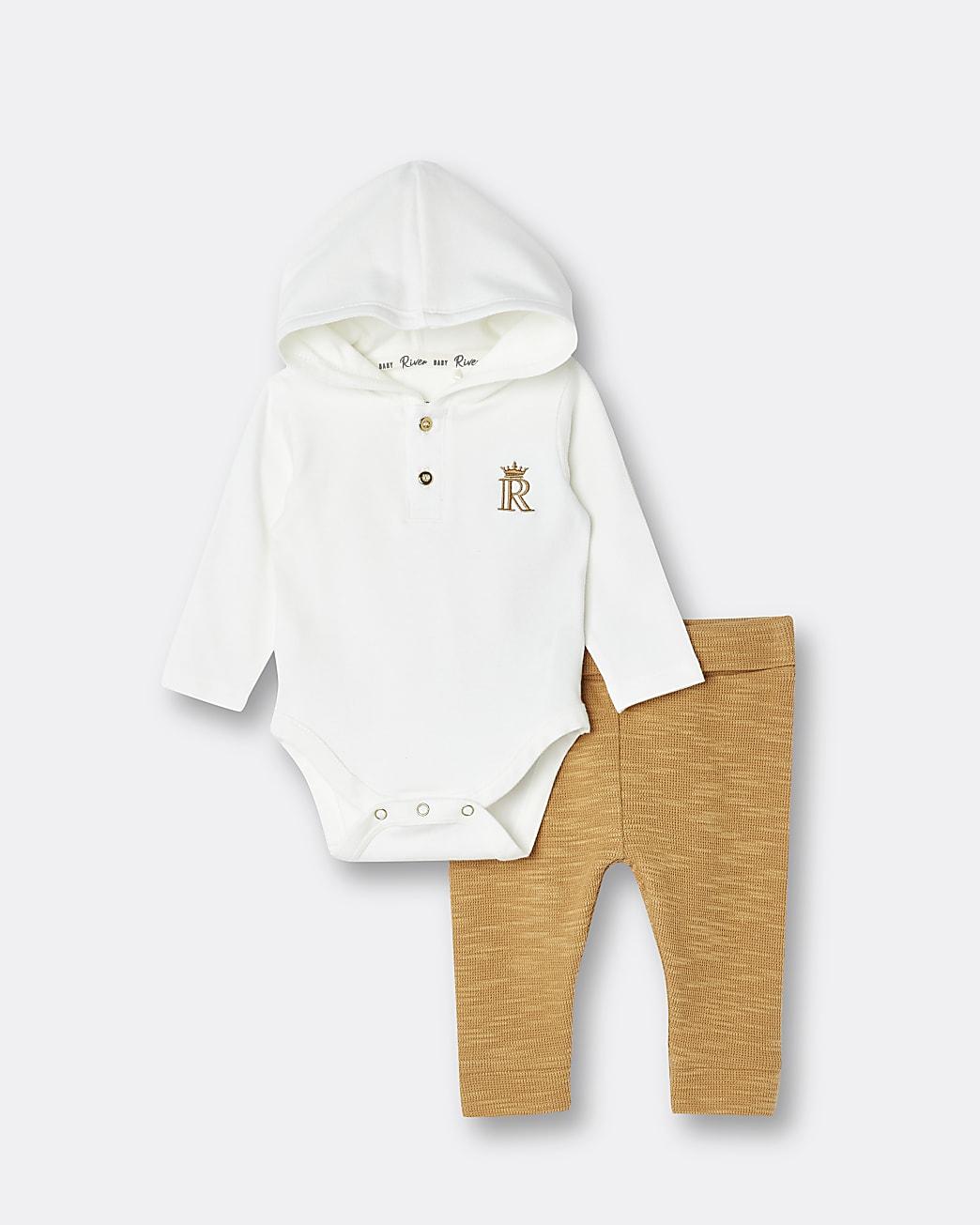 Baby cream hooded babygrow and leggings