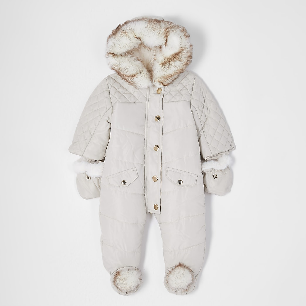 Baby cream hooded pom snowsuit