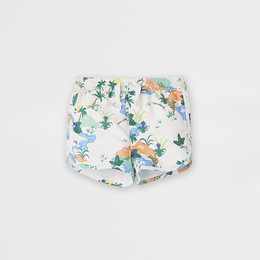 Baby cream jungle print shorts