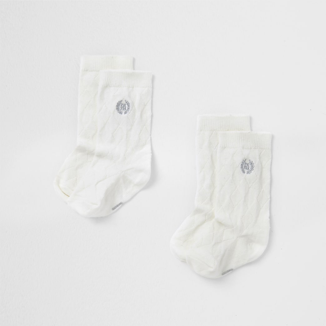 Baby cream knee high socks
