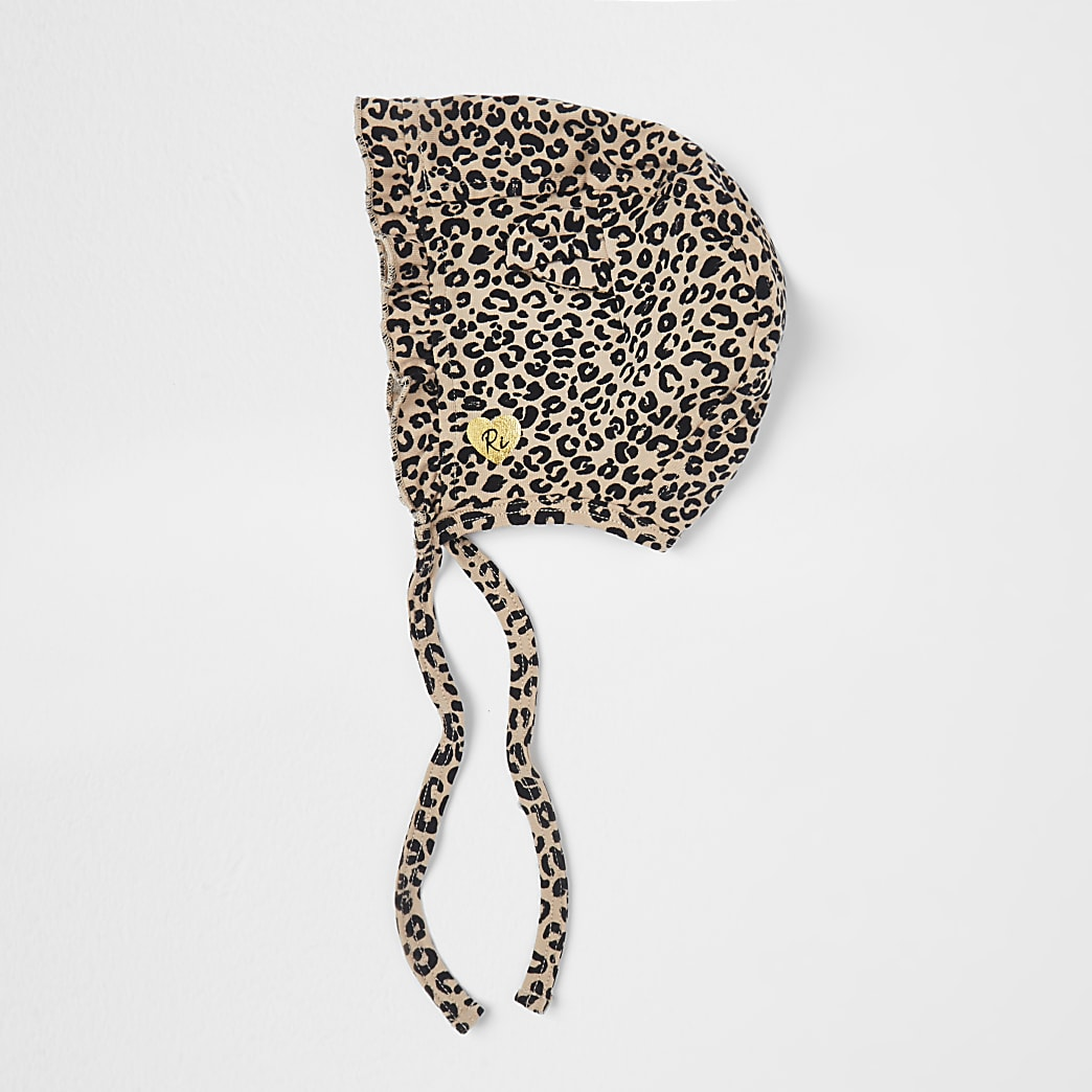 Baby cream leopard bonnet hat