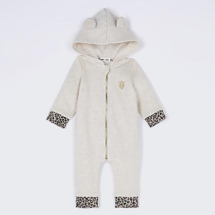 Baby cream leopard print wing romper