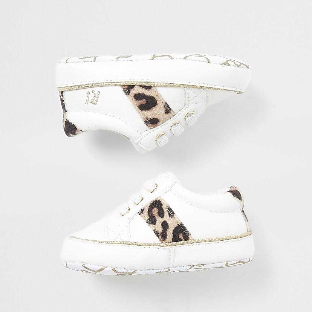Crèmekleurige sneaker met luipaardprint voor baby's