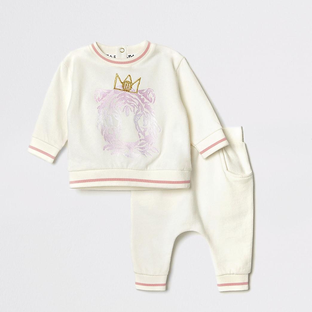 Outfit met crèmekleurige sweater met leeuw in reliëf voor baby's