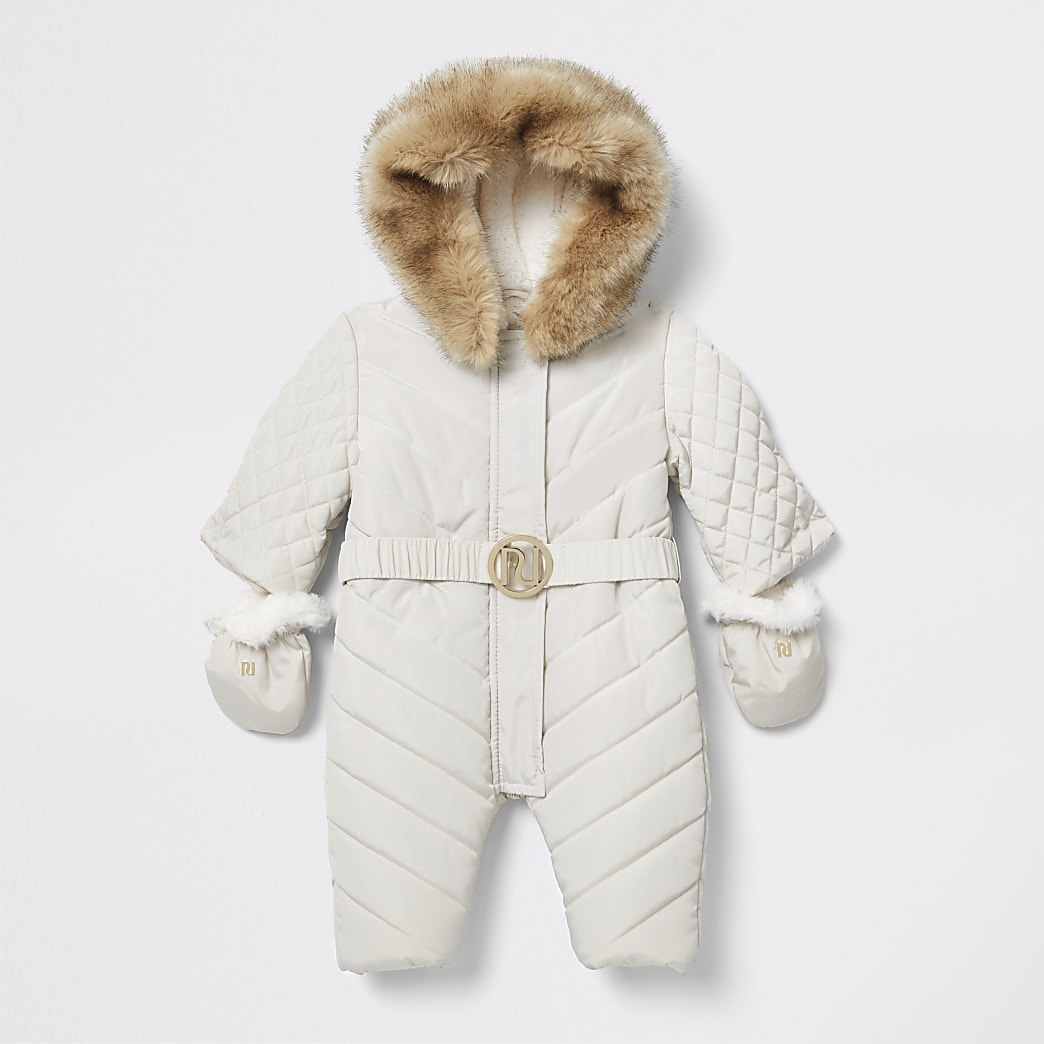 Baby cream padded snowsuit