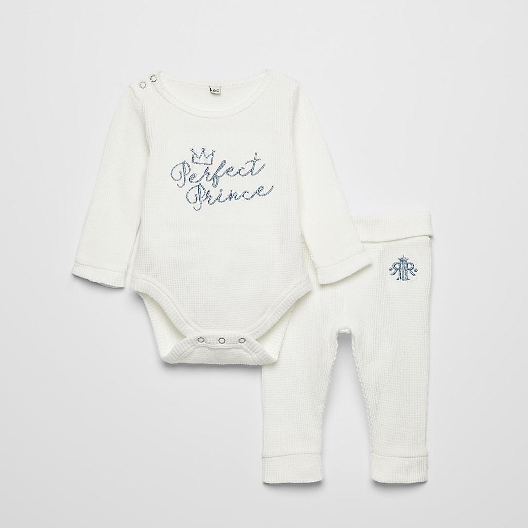 Crèmekleurige bodysuit outfit met 'Perfect Prince'-tekst voor baby's