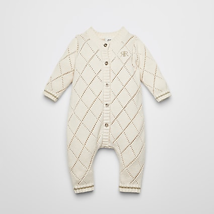 Baby cream pointelle knitted baby grow