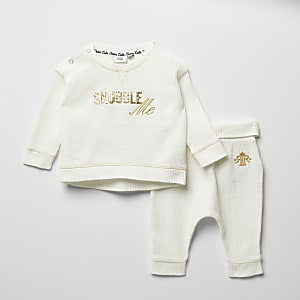 Crèmekleurig T-shirt outfit met print en wafeldessin voor baby's