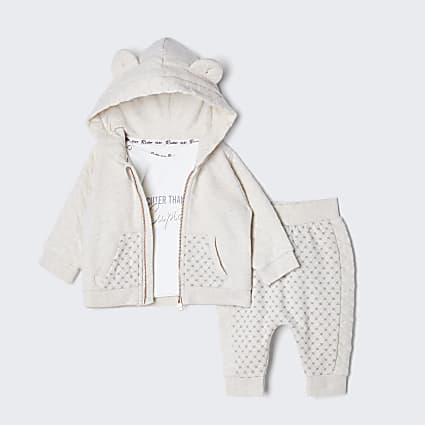 Baby cream quilted hoodie and bottom outfit