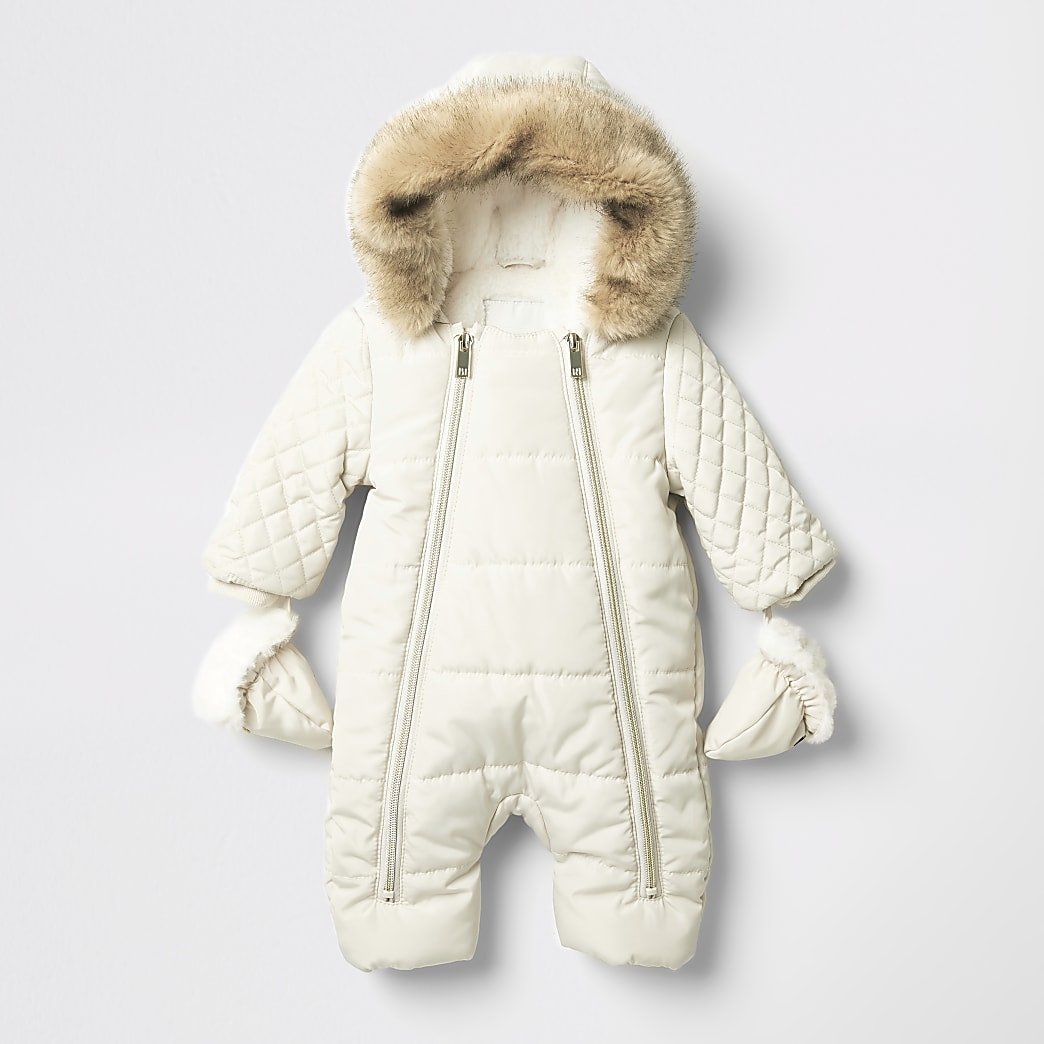 Baby cream quilted zip front snowsuit