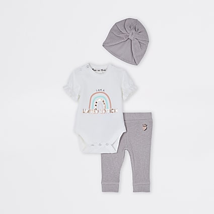 Baby cream rainbow baby grow and leggings set