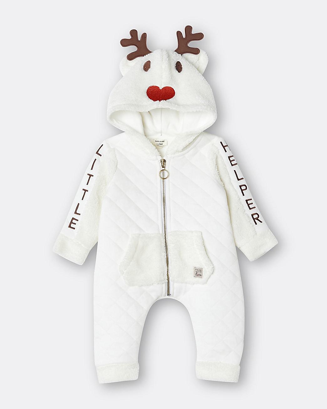 Baby cream Reindeer bodysuit