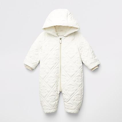Baby cream RI embossed quilted snowsuit