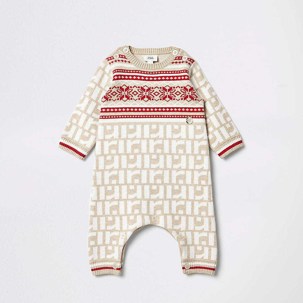 Crèmekleurig rompertje met RI-monogram voor baby's
