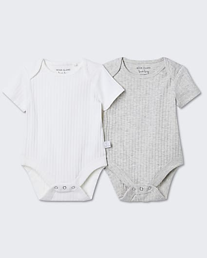 Baby cream ribbed bodysuits 2 pack