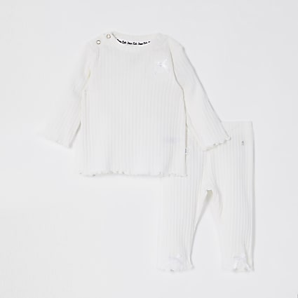 Baby cream ribbed bow legging outfit