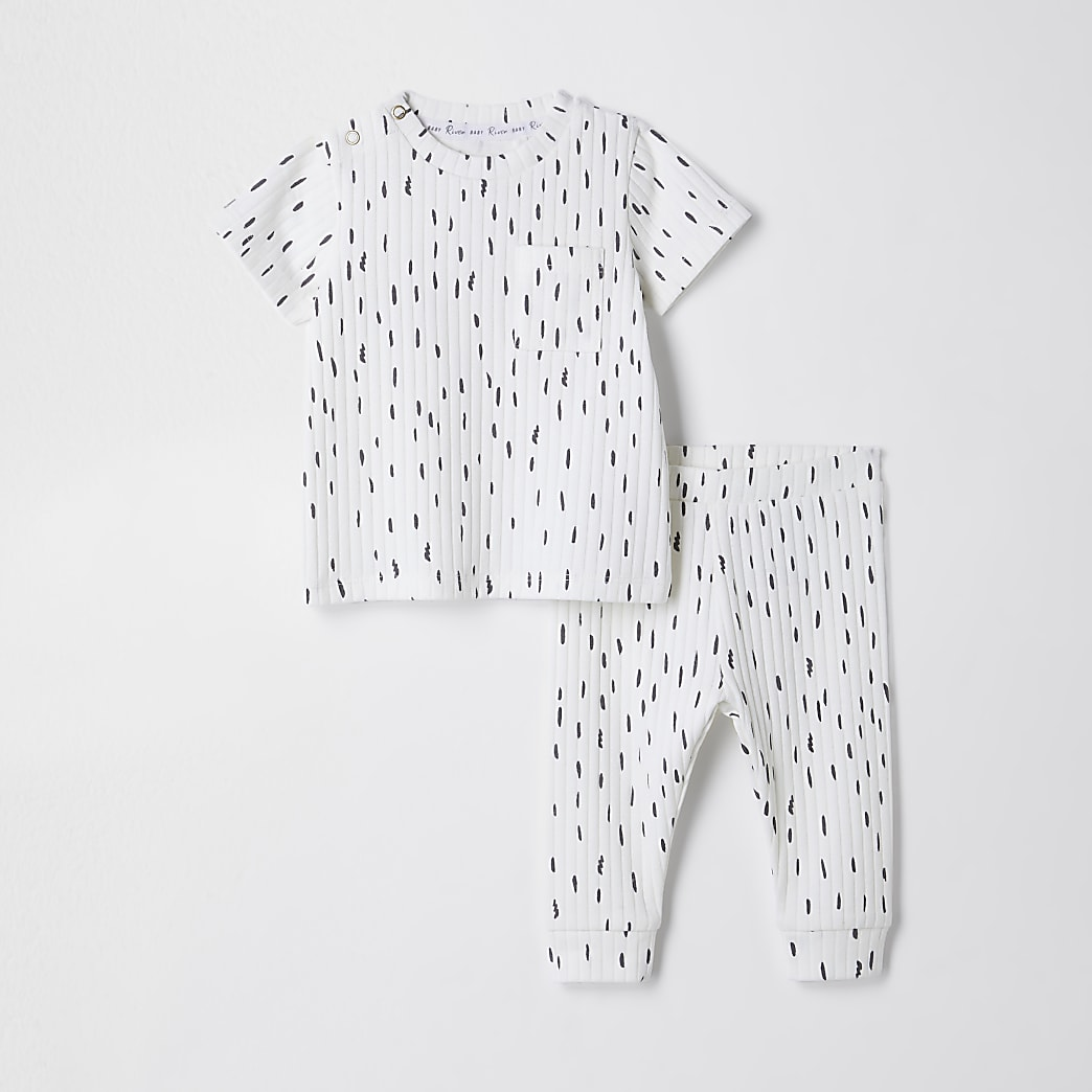 Baby cream ribbed scribble print outfit