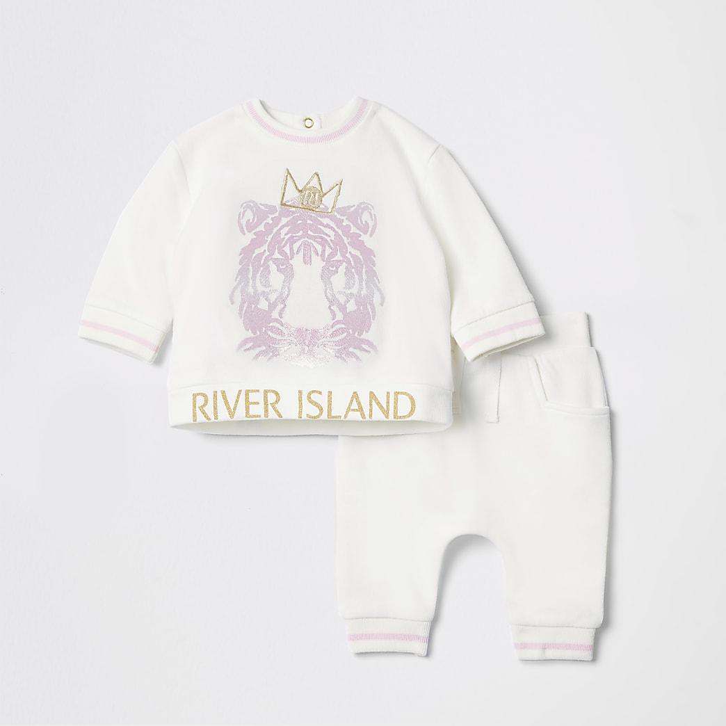 Crème joggingoutfit met tijgerprint voor baby's