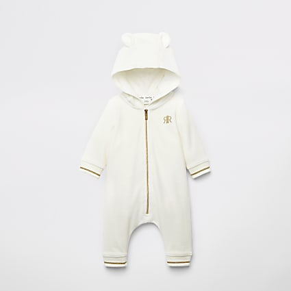 Baby cream velour bear all in one