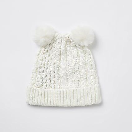 Baby ecru double pom pom beanie hat