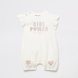 Ecru rompertje met 'Girl power'-tekst en ruches voor baby's