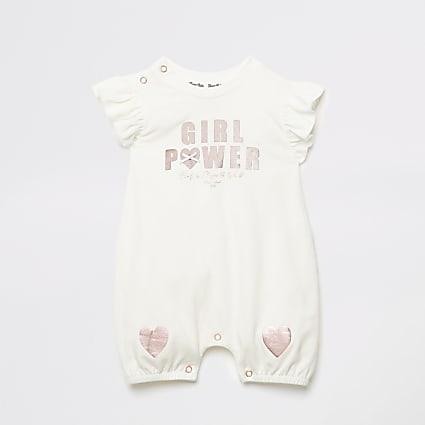Baby ecru 'Girl power' frill baby grow