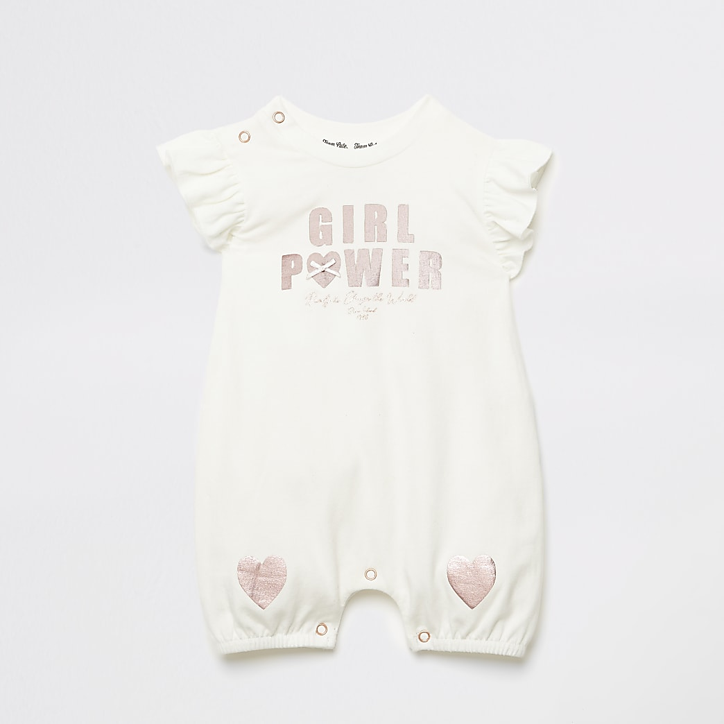 Baby ecru 'Girl power' frill baby grow