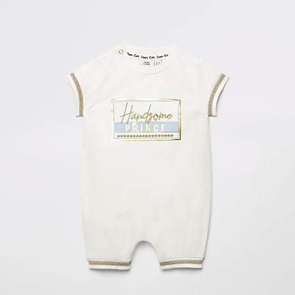Baby ecru 'Handsome Prince' baby grow